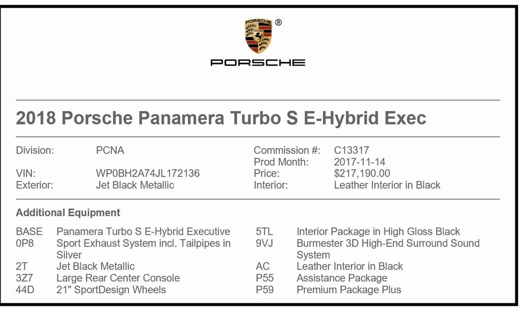 Certified Pre-Owned 2018 Porsche Panamera E-Hybrid Turbo S Executive